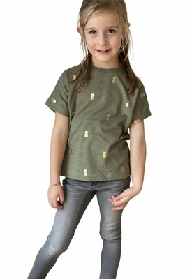 KIDS T-shirt - TYKKI - kaki/goud