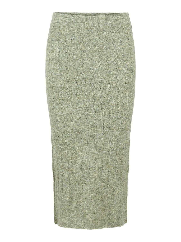 Midi rok high waist knit - GIANA - licht kaki