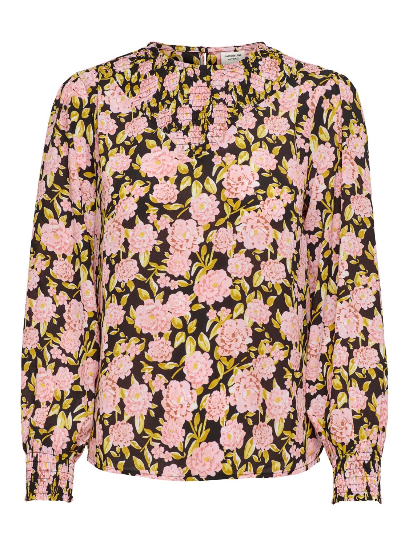 * Blouse - CARMEN - zwart/roze bloemen