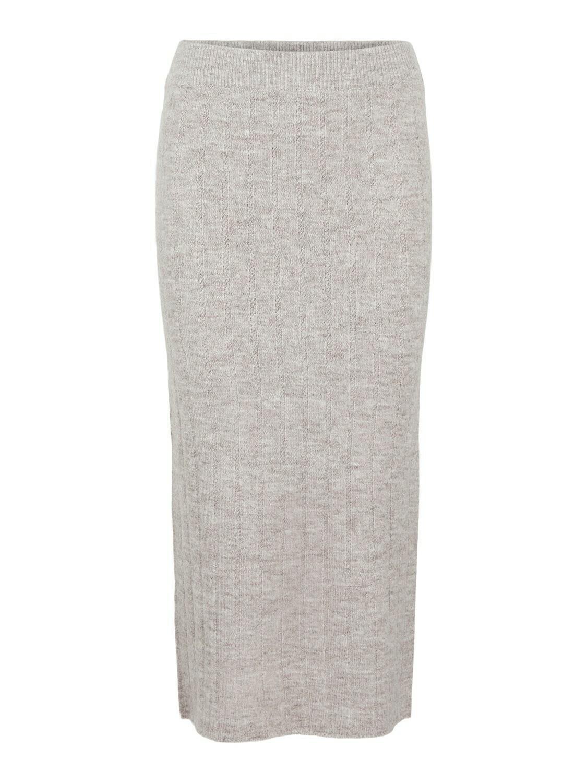 Midi rok high waist knit - GIANA - beige