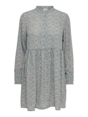 Korte jurk - CARMEN - zachtblauw/bruine blaadjes