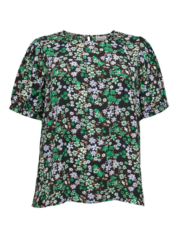 *  + Blouse - ANEMONY - zwart/bloemen paars en groen