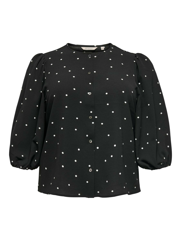+ Blouse - MILA - zwart met bolletjes