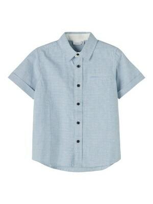 *  KIDS Hemd met korte mouwen - FUGL - gestreept wit/blauw