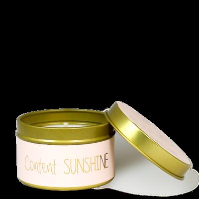 Kaarsje met tekst 'CONTENT: SUNSHINE' - poederroze/goud - maat S