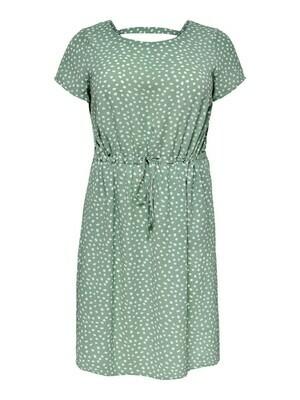 *  + Korte jurk - LUXINA - groen/witte bolletjes