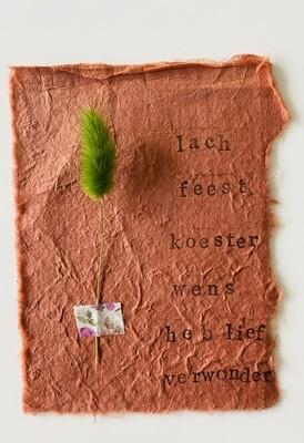 26 - wenskaart droogbloemen - LACH FEEST ... - roest
