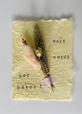 26 - wenskaart droogbloemen - OOIT WORDT HET BETER - pastelgeel