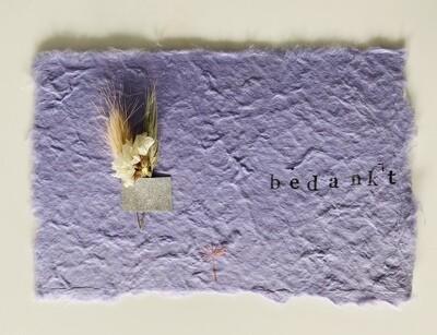 26 - wenskaart droogbloemen - BEDANKT - lila