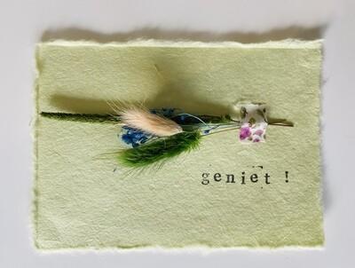 26 - wenskaart droogbloemen - GENIET - pastelgroen