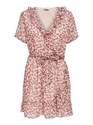 * Korte jurk - JENNIFER - wit/rode bloemen