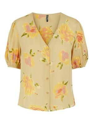 Blouse - TIANNA - beige met gele bloemen