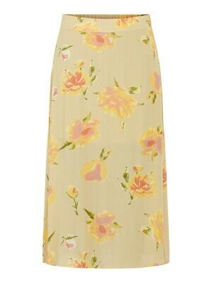 Rok - TIANNA - beige met gele bloemen