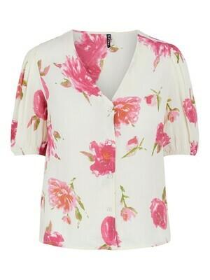 Blouse - TIANNA - wit met roze bloemen