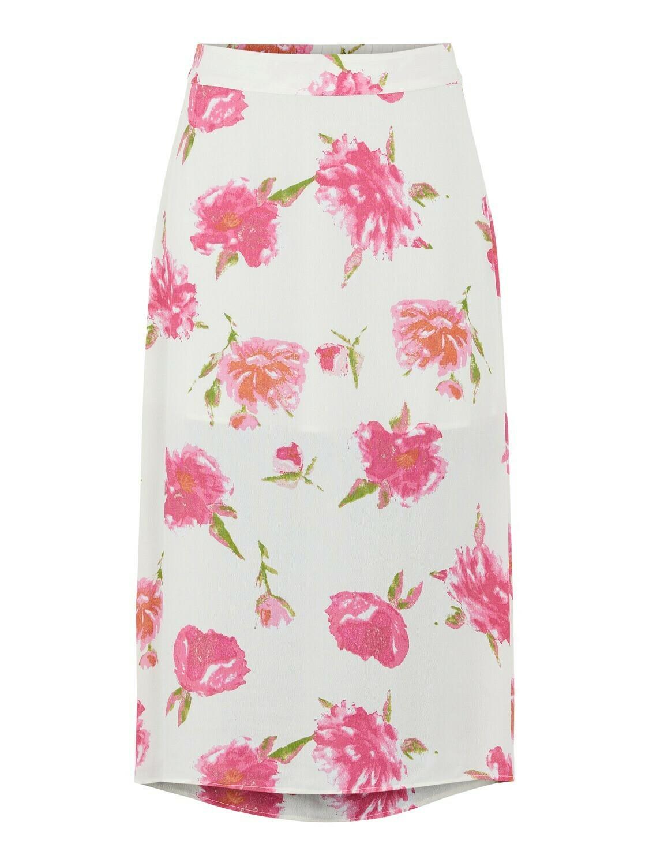 Rok - TIANNA - wit met roze bloemen