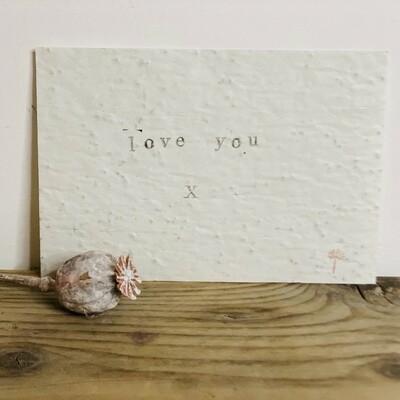 Wenskaart growing card - LOVE YOU X