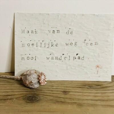 Wenskaart growing card - MAAK VAN DE MOEILIJKE WEG EEN MOOI WANDELPAD