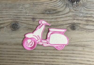 KIDS - VESPA - strijkapplicatie roze/wit