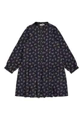 KIDS Maxi jurk - VINAYA - blauw/curry en bloemenprint
