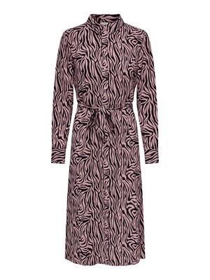 Midi jurk - PIPER - roze/zebraprint