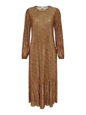 Maxi jurk plissé - BOA - bruin/leopard
