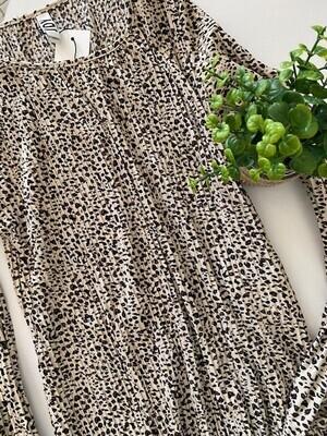 Maxi jurk plissé - BOA - beige/leopard