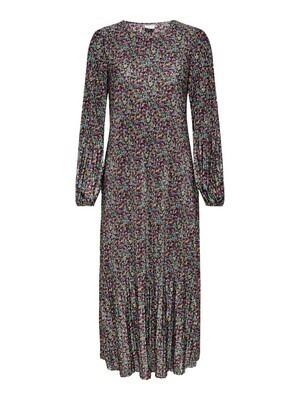 Maxi jurk plissé - BOA - groen/bloemetjes