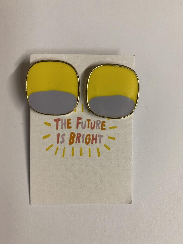 Oorbellen stekertjes - THE FUTURE IS BRIGHT - geel/lila