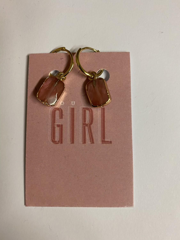 Oorbellen - YOU GO GIRL - roze/goud