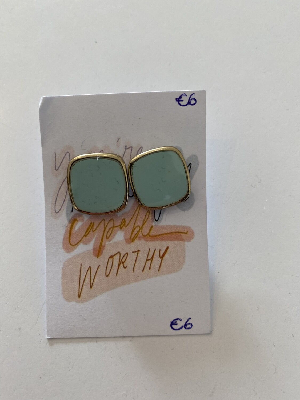 Oorbellen stekertjes - YOU'RE BEAUTIFUL CAPABLE WORTHY - turquoise