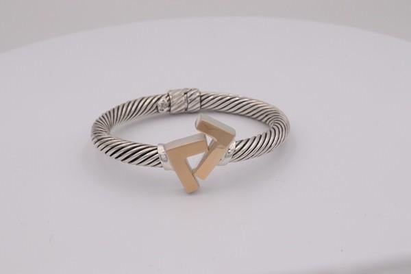 925 Silver/14k gold Tone 8mm cable bracelet