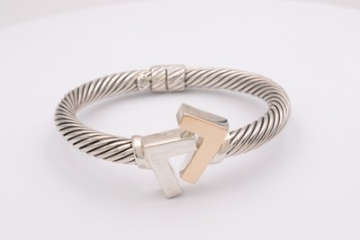925 Silver/14k two Tone 8 mm cable bracelet