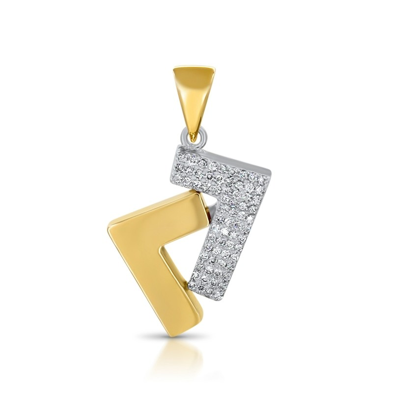 14k gold and diamond 0.5ct se7en pendant