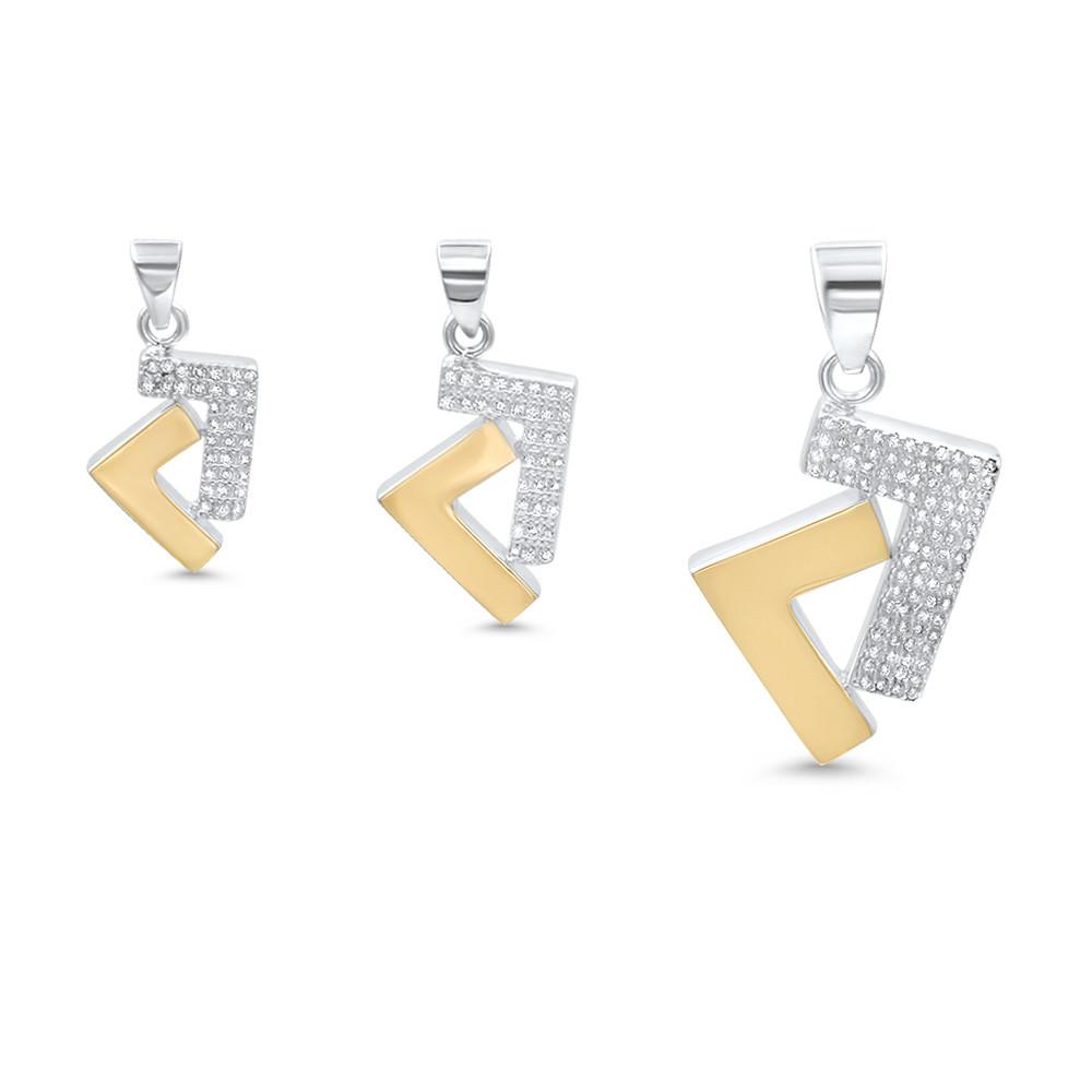 925s/14k gold two tone cz Seven pendant
