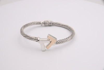 925 Silver/14k Two-Tone 4 mm cable bracelet