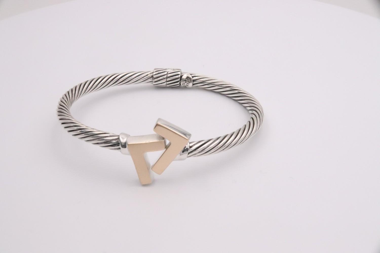 925 Silver/14k Gold Tone 4 mm cable bracelet