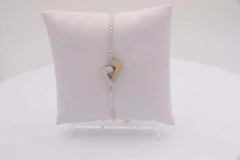 925 Silver/14k Gold two-tones adjustable bracelet