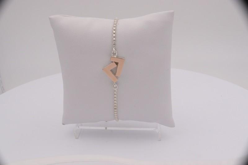 925 Silver/14k Rose Gold adjustable bracelet