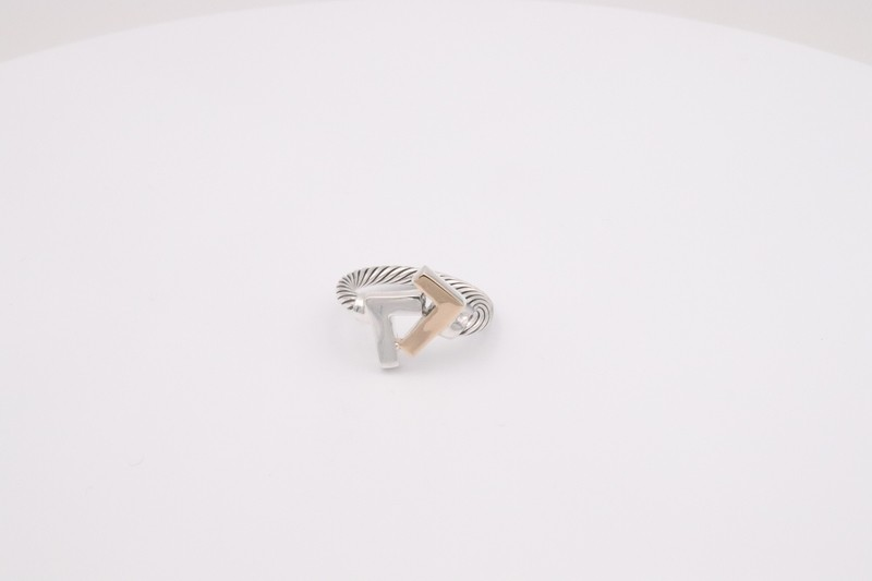 925 Silver/14k Two-Tone Cable Ring