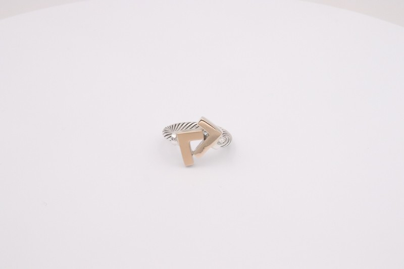 925 Silver/14k Seven Gold-Tone Cable Ring