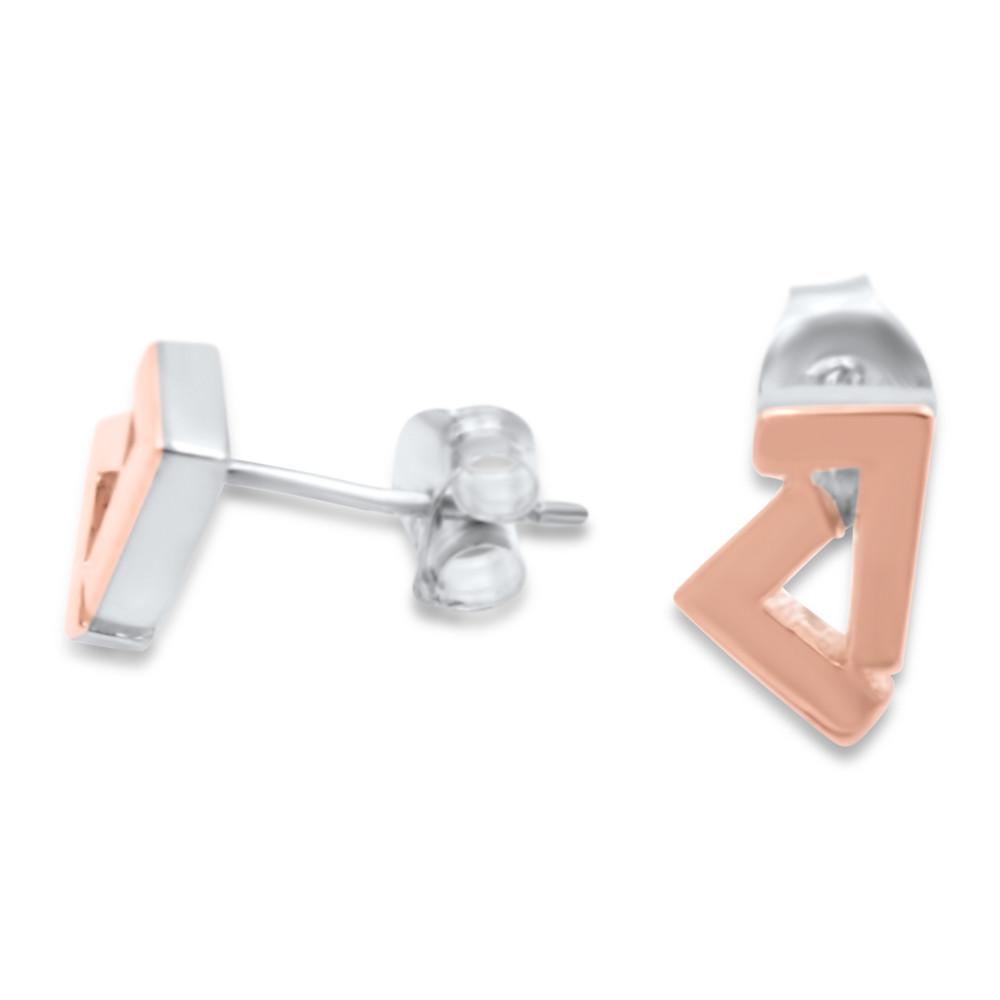 925 Silver/14k Rose gold seven stud earrings
