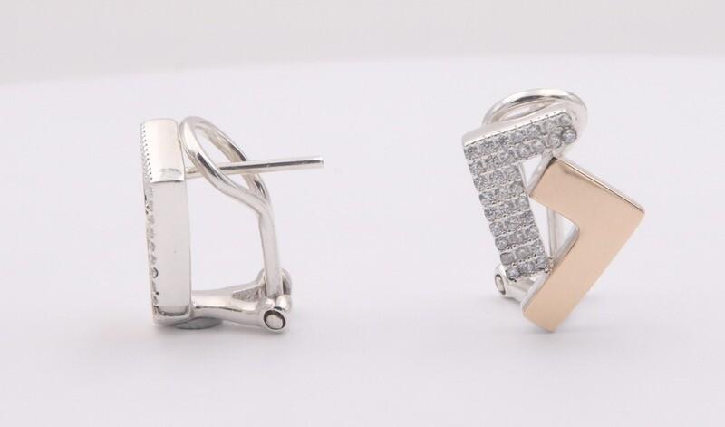925s/14k gold two tone cz se7en omega back earrings