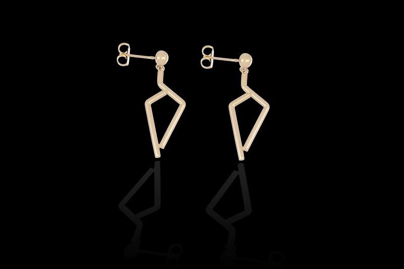 14kyg Seven Tube hanging stud Earrings