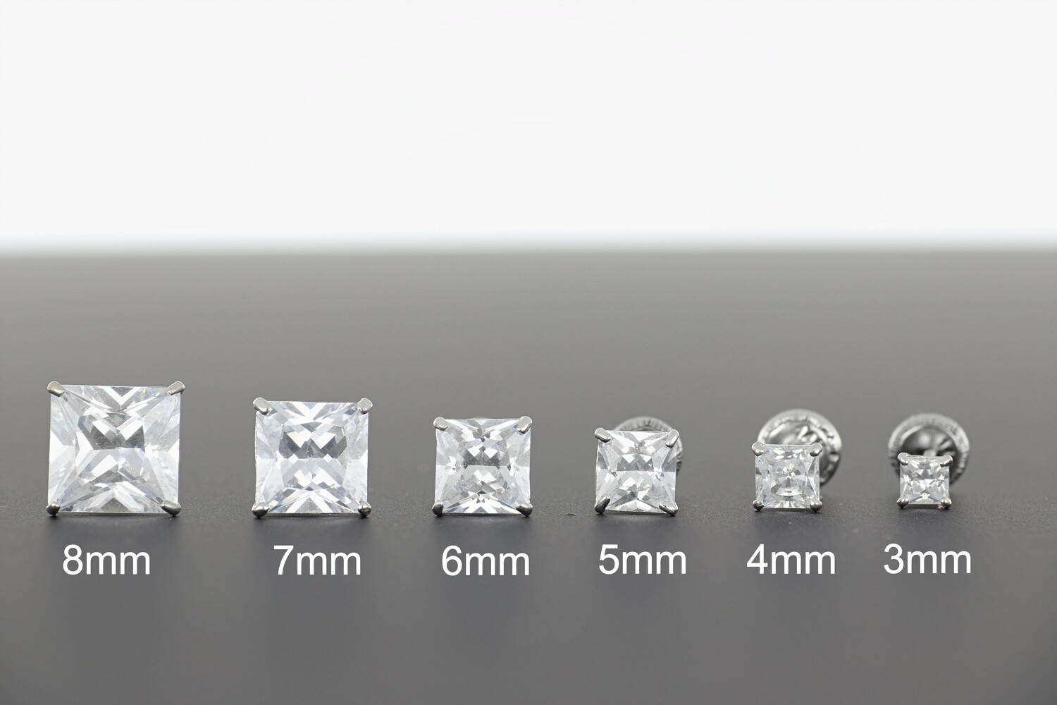 14KWG SQUARE CZ EARRINGS 3-8mm