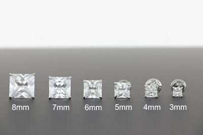 14KWG SQUARE CZ EARRINGS 3-8mm
