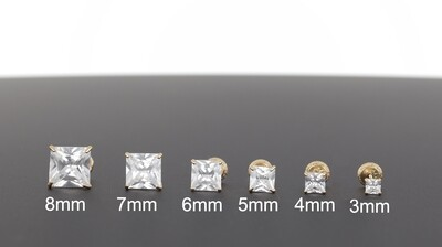 14KYG SQUARE CZ EARRINGS 3-8mm