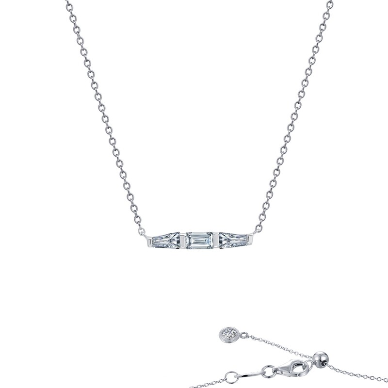 0.84 cttw Baguette Bar Necklace
