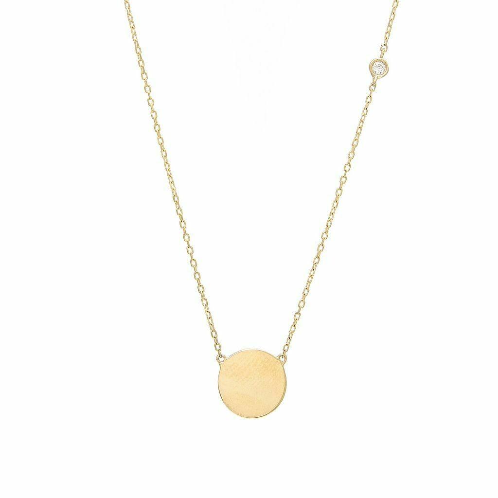 14k Yellow Gold Disk Single Bezel Diamond Necklace