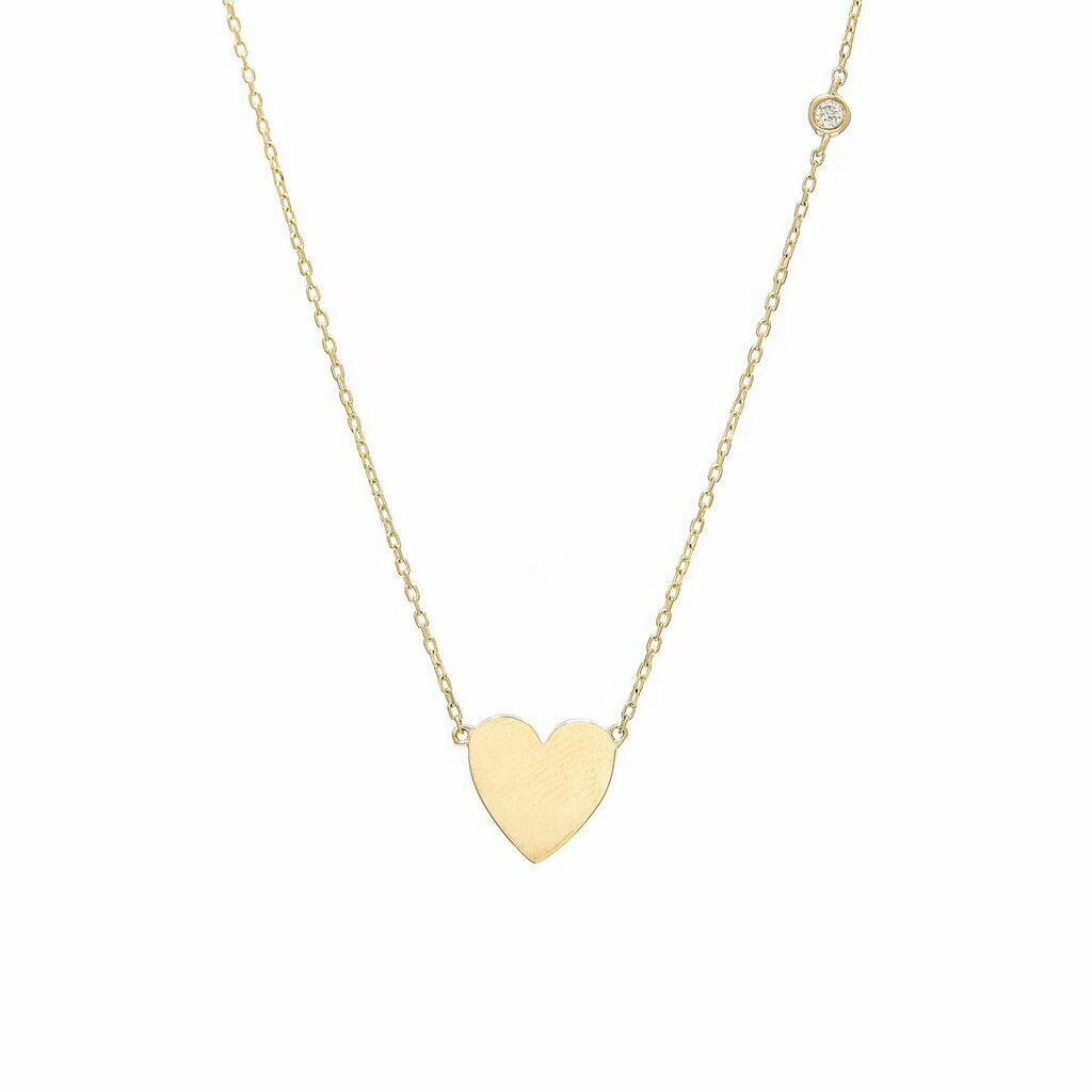 Yellow Gold Heart Single Bezel Diamond Necklace