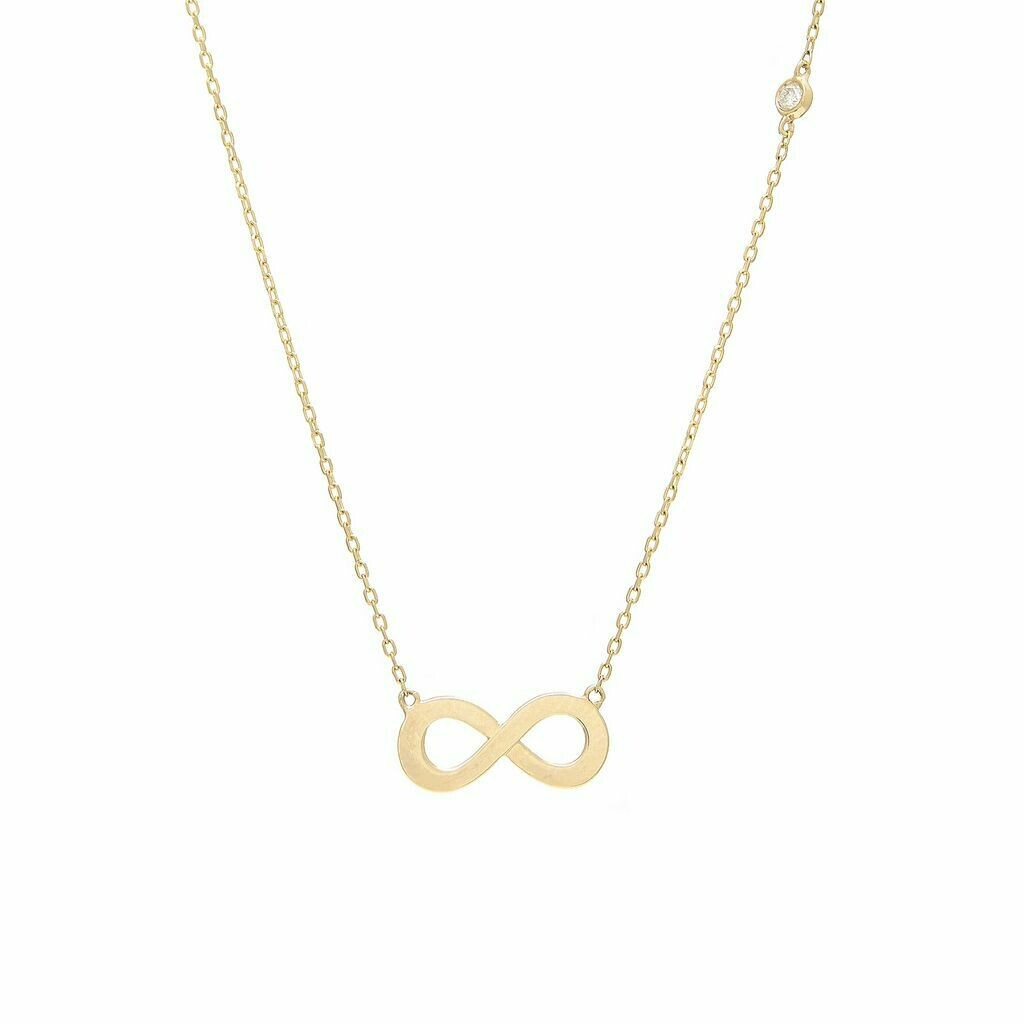 Yellow Gold Infinity Single Bezel Diamond Necklace (Infinity Shape Necklace W/ Bezel Set Diamond (14k)